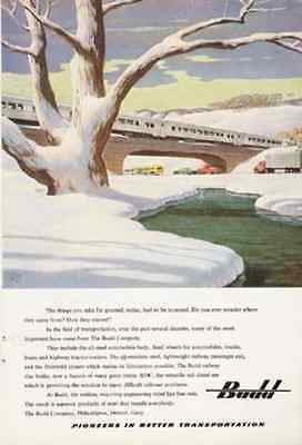 BUDD Railroad Bridge Snow 1950 Leslie Ragan Print AD Railway Disc Brake RDC