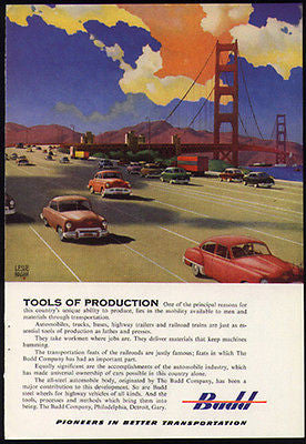 BUDD Transportation Steel Automobile Bodies 1951 Leslie Ragan Print Ad