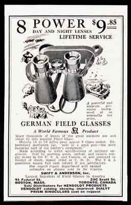 German Field Glasses 8 Power S&A 1928 Print AD
