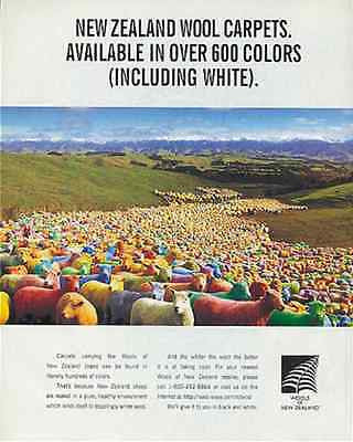 Colorful Sheep Wools of New Zealand Countryside Outside the Box 1997 Carpet Ad - Paperink Graphics