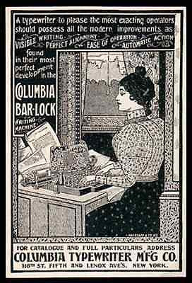Columbia Bar Lock Typewriter 1898 Typing Desktop Small AD - Paperink Graphics