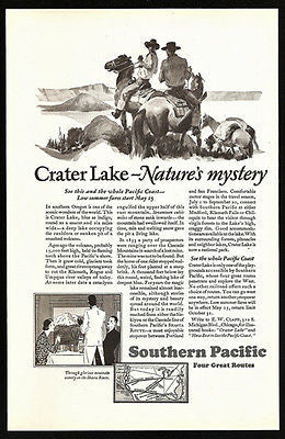 Crater Lake Cowboys 1929 Southern Pacific Lines Ad - Paperink Graphics
