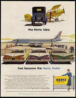 Hertz Rent a Car United Airlines Chevrolets  1959 Ad