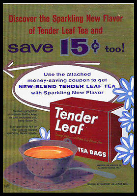 Cup of Tea Tender Leaf Tea 1959 Multi Color Foil Ad