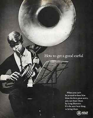 Tuba Musical Instrument 1967 Bell System Vintage Music Band Print Ad
