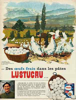 French Chickens Egg Basket Vintage 1966 Ad Lustucru Joun Art Gathering Eggs