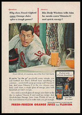 Frank Gifford NY Giants Football Star 1957 Ad FL Orange Juice