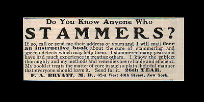 1905 Antique AD Stammering Speech Defects Quack Medicine Collectible Print AD - Paperink Graphics