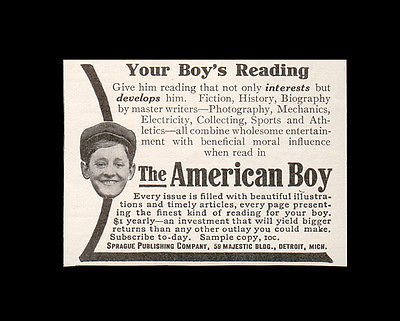 American Boy Publication AD 1908 Sprague Publishing Co. Detroit Michigan - Paperink Graphics