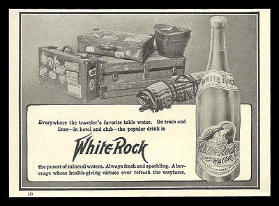 White Rock Mineral Water 1906 Antique AD Bottle Graphics Travel Trunk Suitcases - Paperink Graphics