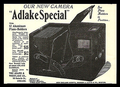 Antique Camera Photography Equipment AD 1898 ADLAKE Special Adams & Westlake Co.