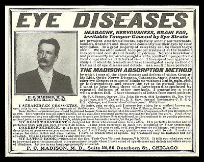 Eye Diseases Optical Quack Medicine Cure AD 1902 P.C. Madison, M.D., Chicago