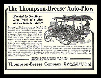 Auto PLOW 1911 Ad Farm Machinery Equipment Plowing, Thompson Breese Co. Ohio