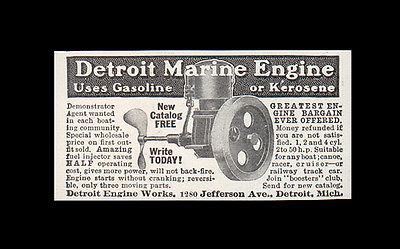 Detroit Marine Engine Boat Boating 1914 AD Detroit Engine Works AGENT Wanted - Paperink Graphics