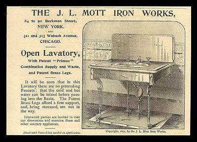 Plumbing Primus Lavatory Antique Bathroom Sink 1893 AD J.L. Mott Iron Works NY