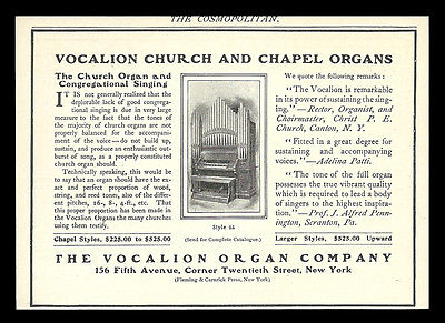 Musical Instrument Church Chapel Organ Vocalion Organ Co. New York 1901 AD