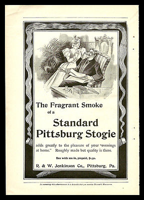 Pittsburg Stogie AD 1898 Cigar Standard Display Box Collectible Advertising Graphic Arts - Paperink Graphics