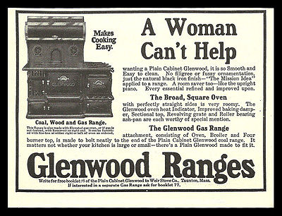 Cast Iron Plain Glenwood Range Coal Wood Gas 1914 Antique Kitchen Stove AD - Paperink Graphics