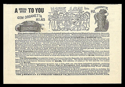 American Automatic Organ Co., Boston MA 1885 AD Musical Instruments Manufacturer