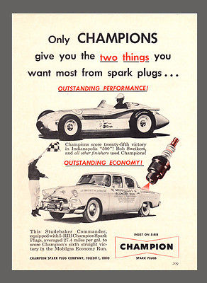Champion Spark Plugs 1955 Vintage Collectible Advertisement Studebaker Commander - Paperink Graphics
