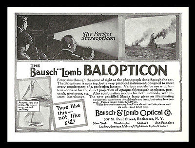 Balopticon Lantern Bausch & Lomb Optical Rochester NY 1917 Stereopticon Advert