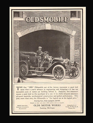 Olds Motor Works Lansing, Michigan Factory Touring Car 1908 Automobile Car AD - Paperink Graphics