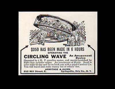 Amusement Carnival Ride Circling Wave Armitage & Guinn, Springville, NY 1914 AD - Paperink Graphics