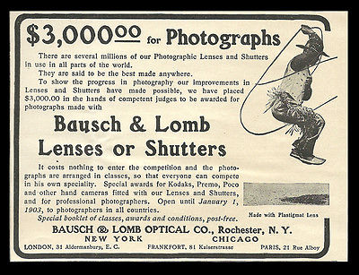 Bausch & Lomb Optical Rochester NY Lenses Shutters Photography Contest 1902 AD