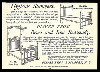 Antique Brass Iron Bed 1896 Antique Bedroom Furniture AD Oliver Bros Lockport NY