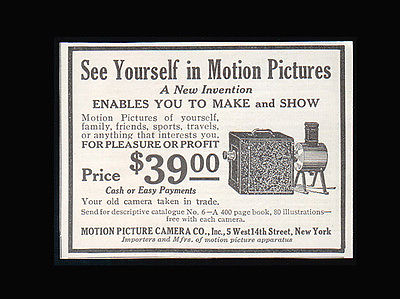 1914 Photographic Equipment AD Motion Picture Camera Co. New York Advertising