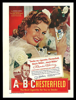1950 Rhonda Fleming Collectible Advertising Chesterfield Cigarette Mirror Tobacco AD