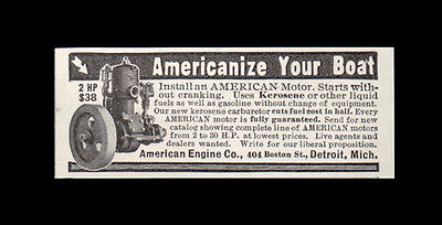 Americanize Your Boat 1914 Boating Engine AD American Engine Co Detroit Michigan - Paperink Graphics