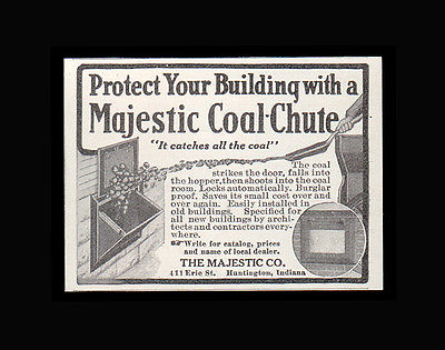 Coal Chute 1914 Advertisement for Majestic Co Huntington, Indiana Coal Hopper AD - Paperink Graphics