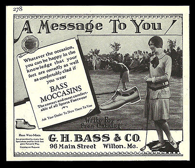 Golfing Bass Moccasins 1939 Shoe AD G. H. Bass Co. Wilton Maine Sports Footwear - Paperink Graphics
