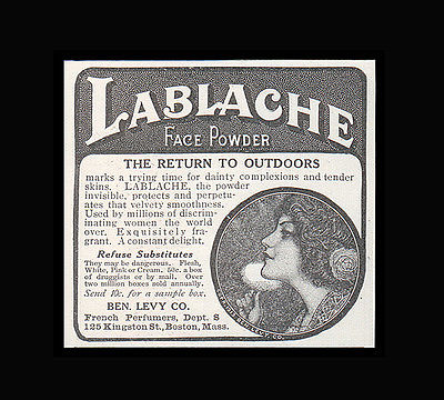 French Perfume Art Nouveau Graphic Arts Lablache Face Powder 1914 Fragrance AD