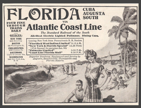 1914 Florida Travel AD Atlantic Coast Line Railroad Steel Pullman Transportation - Paperink Graphics