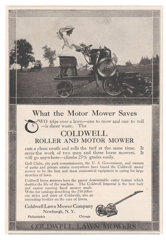 Coldwell Roller, Motor Mower Grass Lawn Mower Lady Operator 1914 Machinery AD - Paperink Graphics