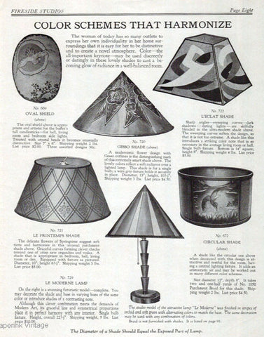 Antique Arts & Crafts Lamp Shades 1928 Catalog AD Nouveau Art Interior Design
