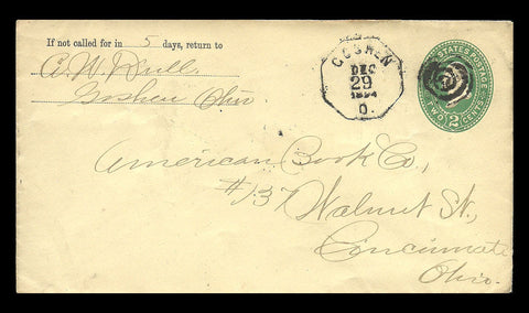 Goshen Ohio 1894 Fancy Octagon Cancel w Bull's Eye 2¢ Stamped Envelope - Paperink Graphics