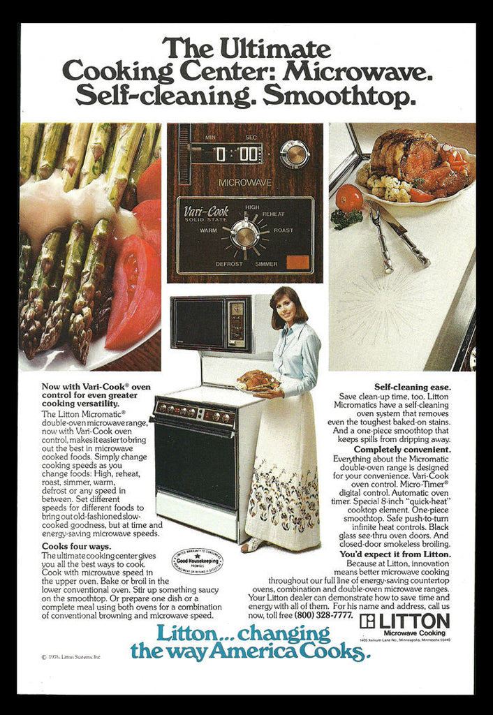 1977 Kitchen Appliances AD Litton Micromatic Microwave Range, Vari-Cook Control - Paperink Graphics