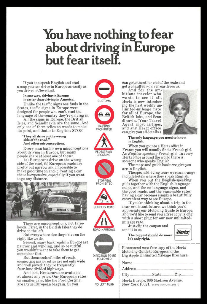 Hertz Europe Auto Travel 1969 Ad Road Signs Symbols Traffic Signs