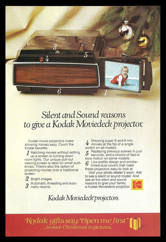 1977 Ad KODAK Moviedeck Projectors Movie Viewing Pull-out Screen Kodak Projector - Paperink Graphics