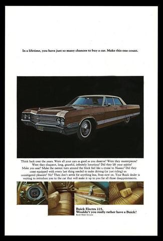 Buick Electra 225 Chrome White Walls 1965 Vintage Car Auto Automobile Print AD - Paperink Graphics
