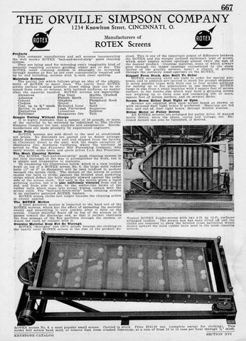 1926 American Industrial Manufacturing AD Orville Simpson Co. Ohio ROTEX Screens - Paperink Graphics