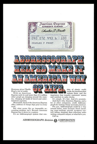 American Express Credit Card 1969 Addressograph AD Typography Lettering Art - Paperink Graphics