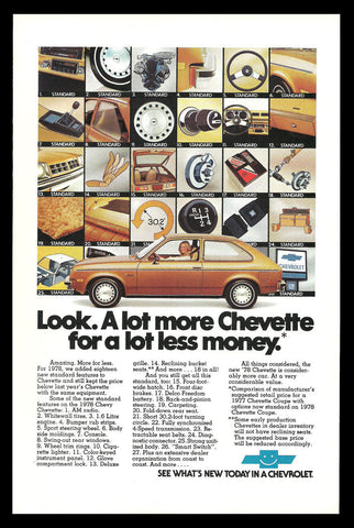 Chevy Chevette 1978 Chevrolet Vintage Automobile Car AD Features Accessories - Paperink Graphics