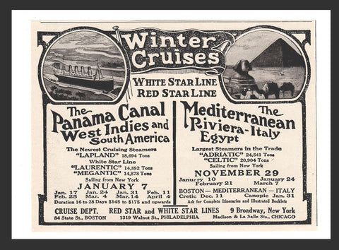 Cruising Steamers Winter Cruises White Star Line Red Star Line 1913 Travel AD - Paperink Graphics