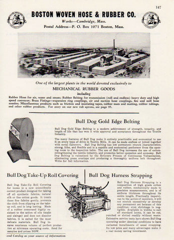 Boston Woven Hose & Rubber Co Mechanical Rubber Goods 1943 AD Plant Illustration