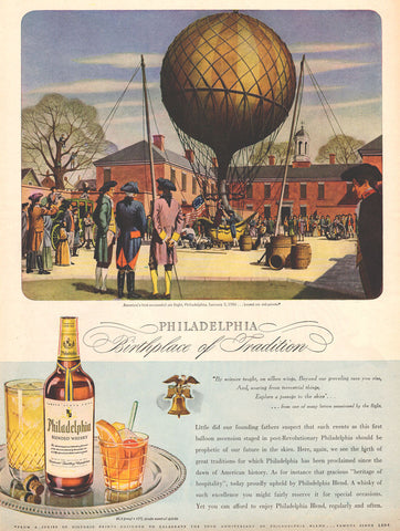 Air Balloon 1944 Print Illustration AD Philadelphia Blended Whisky Ad Steampunk - Paperink Graphics