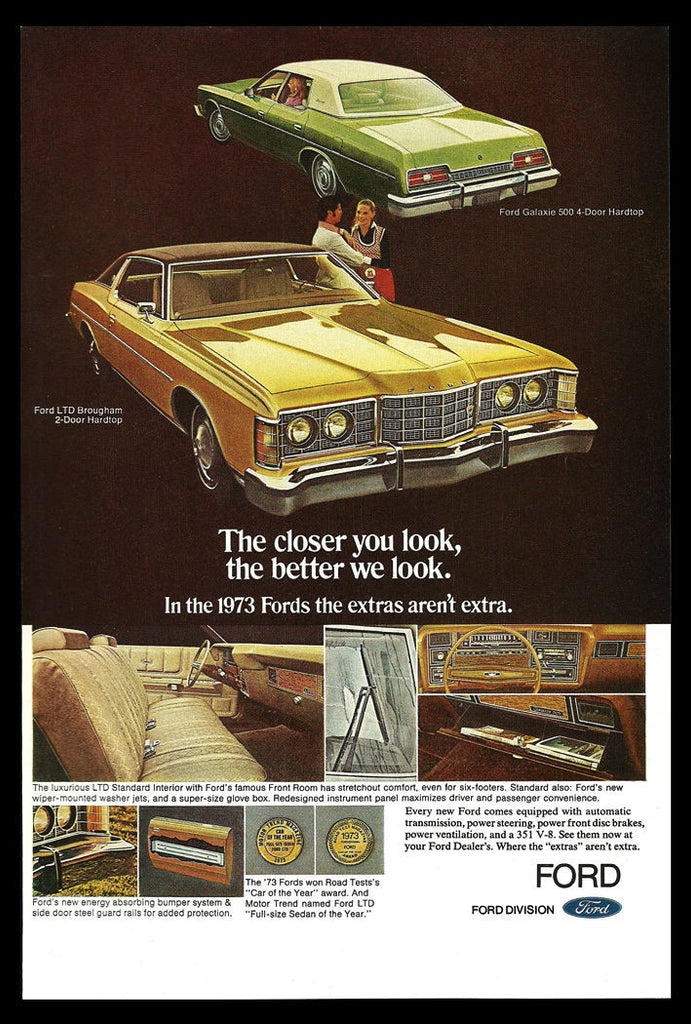 1973 Ad FORD Hardtop Galaxie 500, Ford LTD Brougham Car Auto Automobile Advert - Paperink Graphics